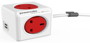 Picture of PowerCube Extended 1.5m USB UK (Red color)